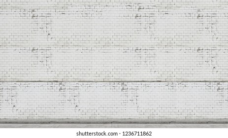 A white brick wall and concrete floor. Empty room