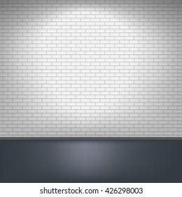 White brick wall and floor, interior background. illustration.