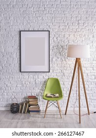 white brick wall in front of books and chairs