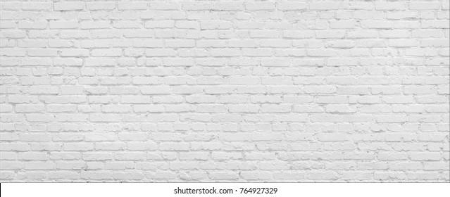 White brick wall high resolution panorama. Home and office modern design backdrop