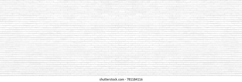 White brick wall panoramic view. High resolution panorama. Home and office modern design backdrop