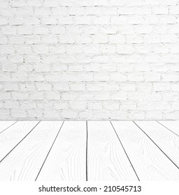White brick wall and perspective white wood, Template, room, table.
