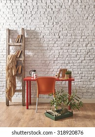 white brick wall red table orange chair interior with old stairs