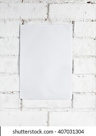 white brick wall with template poster (It serves as template) background