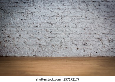 White Bricks Background With Wooden Floor With Vignette