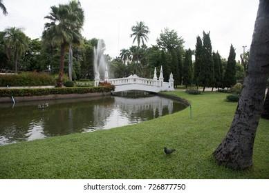 White Bridge Reflecting on Water in a Beautiful Park, Nong Buak Hard Public Park, Chiang Mai, Thailand