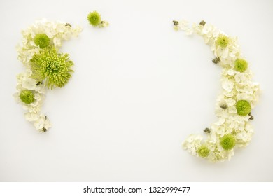 White and Bright Green Floral Cannabis Flower Arrangement for Marijuana Product Background Frame - Top Down