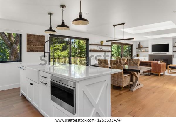 White Bright Kitchen Dining Living Room Buildings Landmarks Stock Image 1253533474