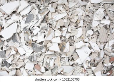 White broken tiles debris background texture.