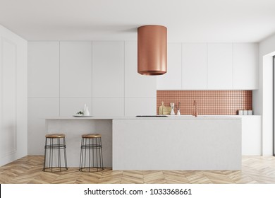 White and bronze wall kitchen interior with a wooden floor and white countertops. 3d rendering mock up