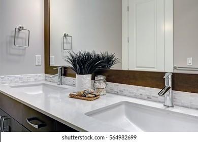 Bright New Bathroom Interior Glass Walk Stock Photo Edit Now