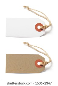 White and brown blank tags isolated on white background
