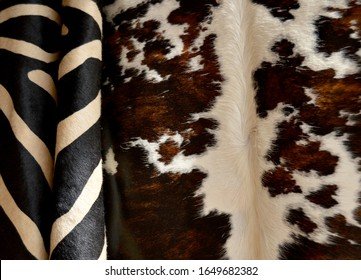 White and brown cowhide texture background for manufacturing leather objects