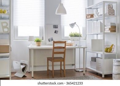 White and brown decor of teen room