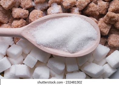 white and brown sugar close-up