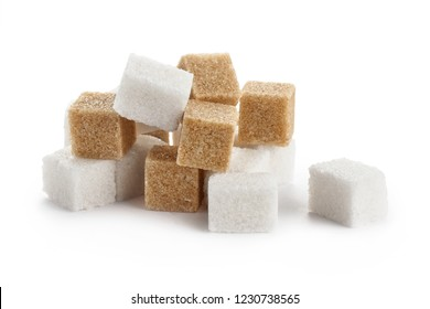White and brown sugar cubes, isolated on white background