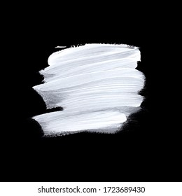 White brush painted acrylic isolated on black background