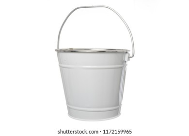White bucket with handle white bottom