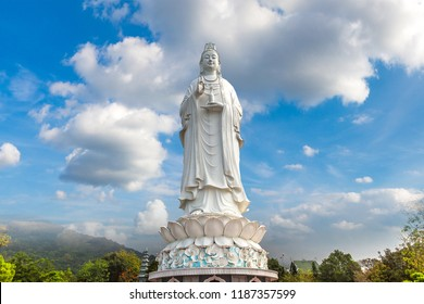 White Buddha statue (Lady Buddha) at Linh Ung Pagoda, Danang, Vietnam in a summer day