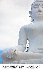 White buddha statue - Phra That Maeyen temple, Thailand