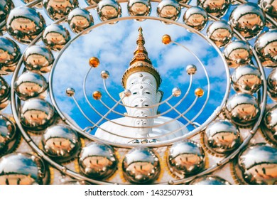 White buddha statue at Wat Pha Sorn Kaew or Wat Phra Thart Pha Kaew temple in Khao Kor, Phetchabun, Thailand