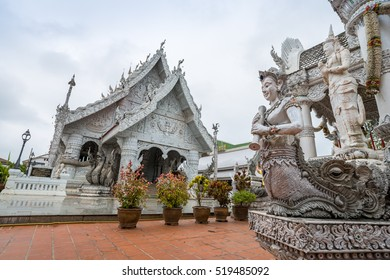 White Buddhist temple in Nan province in Thailand