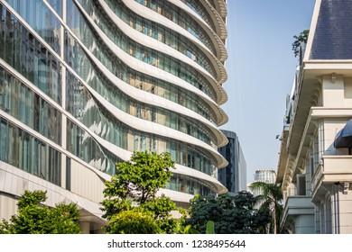White building with a modern facade in Bangkok, Thailand