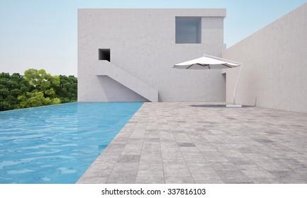 white building near swiming pool