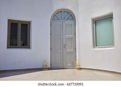White building on Santorini Island