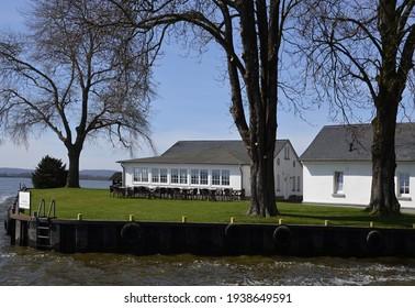 White Buildings at the Lake Steinhuder Meer, Lower Saxony. - Shutterstock ID 1938649591