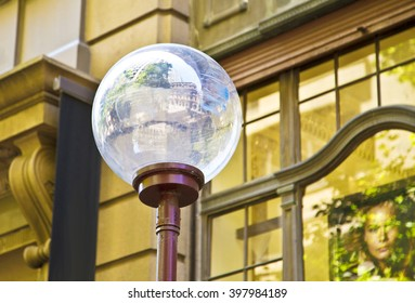 white bulb on the street ,lamp ,building ,big ,light  ,architecture , sydney , outside , old , light, architectural  ,long, yellow ,transparent