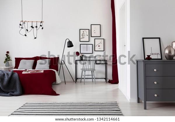 White Burgundy Grey Bedroom Interior Design Stock Photo Edit Now 1342114661