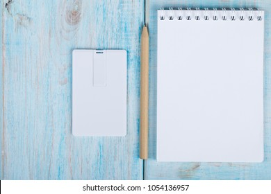white bussines card, name card, usb flash memory card mock up design. workspace