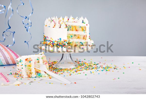 Awe Inspiring White Buttercream Confetti Birthday Cake Colorful Stock Photo Funny Birthday Cards Online Elaedamsfinfo