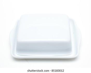 white butterdish over white