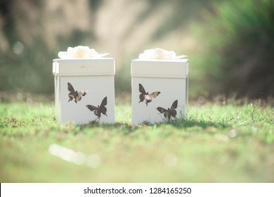 White butterfy release boxes with white bows and butterfly cut outs filled with real butterflies at wedding ceremony