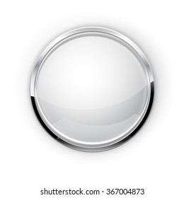 White Button with chrome elements. Glass button with shadow.  Raster version. Illustration isolated on white background.