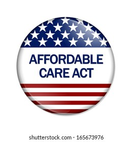 A white button with words Affordable Care Act isolated on white, Affordable Care Act Button