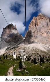 white cableway on Italian mountains
