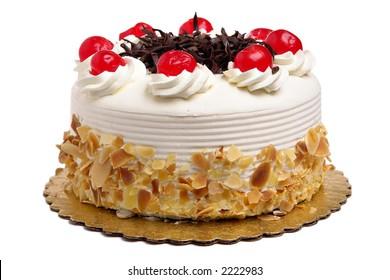 White Cake with cherries and chocolate