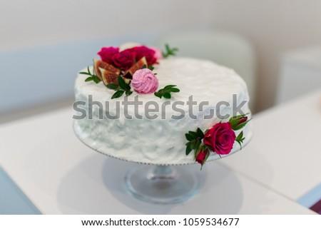 White cake red flowers white background stock photo edit now white cake with red flowers white background mightylinksfo