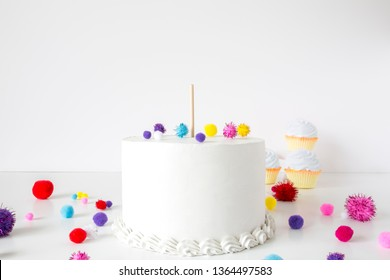 White cake with stick for topper, birthday mock up
