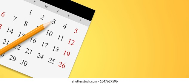 White calendar with pencil and month schedule to make appointment meeting