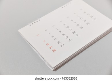 white calendar in white tone
