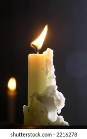 White candle in a church