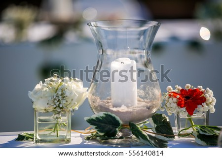 White Candle Glass Jar Decoration On Stock Photo Edit Now
