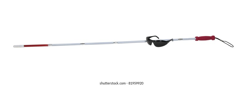 White cane with caution stripe used for the blind to help navigate through objects with a pair of blackout glasses - path included