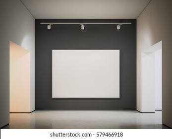 White canvas on the black wall in modern gallery. 3d rendering