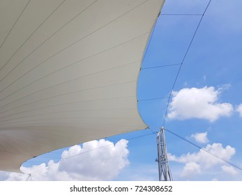 White canvas roof and blue sky background