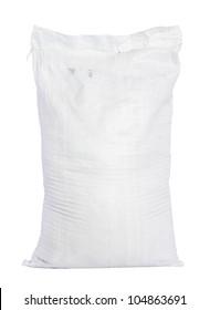 White canvas sack with full fertilizer isolated on white background